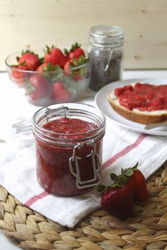 The Busy Baker: Homemade Chia Seed Strawberry Jam Recipe. No sugar, no pectin, all natural homemade jam!