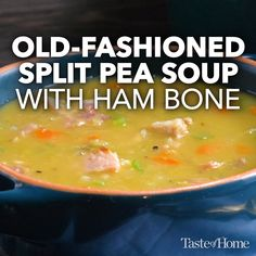 Old-Fashioned Split Pea Soup with Ham Bone - Food Recipe Easy Split Pea Soup, Green Split Pea Soup, Split Pea Soup Recipe, Pea Recipes, Soup Recipes, Ham Bone Soup, Pea And Ham Soup, Leftover Ham Recipes, Soup Appetizers