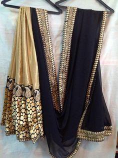 gold, beige, black saree