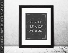 8x10 Portrait Black Wood Matted Frame on Wooden Floor, Wall Art Display Mockup, PNG PSD, 2 Walls Minimal style, Color variations 16x20 24x30