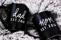 Mom and Dad Mug Set with Custom Established by ivoryandcompany
