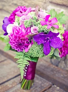 Green + #purple #bouquet ... #purple #wedding … Wedding #ideas for brides, grooms, parents & planners https://itunes.apple.com/us/app/the-gold-wedding-planner/id498112599?ls=1=8 … plus how to organise an entire wedding, within ANY budget ♥ The Gold Wedding Planner iPhone #App ♥ For more inspiration http://pinterest.com/groomsandbrides/boards/ #fuchsia #plum #indigo pink flowers, bridal bouquets, color, wedding flower bouquets, wedding bouquets, pink wedding flowers, pink weddings, purple wedding, green flowers