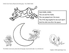 hey diddle diddle nursery rhyme and coloring page worksheet lesson planet