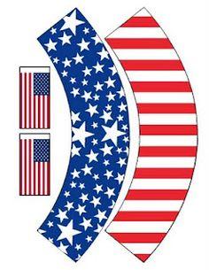 Free Printable - Patriotic Cupcake Wrappers