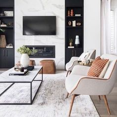 Modern but cozy living room design by Ottawa based interior design firm, Leclair. Modern but cozy living room design by Ottawa based interior design firm, Leclair Decor. Living Room Goals, Cozy Living Rooms, Living Room Interior, Home Living Room, Living Room Furniture, Living Room Designs, Living Room Decor, Modern Living Room Design, Living Room Ideas 2019