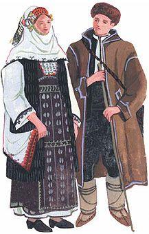 Winter ordinary costume of Pomorie (type Sukman and black muzsy. costumes) Bulgaria