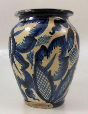 Vintage Cobalt Clear Glaze German Pottery Vase Early 20th Century