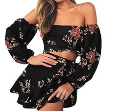 New Hot Summer 2 Two Piece Set Women Sexy Off Shoulder Ruffles Tops Skirts Set Floral Print Female Casual Holiday Outfits Dress Outfits, Casual Dresses, Fashion Dresses, Floral Dresses, Short Dresses, Fashion Wigs, Ladies Dresses, Girly Outfits, Grunge Outfits