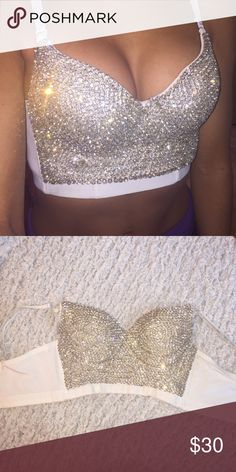 Rhinestone Bra Top White bra top with full coverage rhinestones on front WINDSOR Other Rave Festival, Festival Looks, Festival Wear, Festival Outfits, Rave Outfits, Summer Outfits, Fashion Outfits, Womens Fashion, Raves
