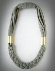 awesome diy inspiration - could make this necklace out of a tshirt and some hardware store supplies. The braid and gold go so well together!