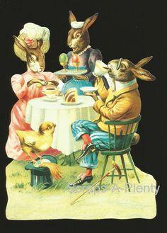 German Victorian Style Embossed Scrap Die Cut LRG Easter Bunny Dinner BK5113   eBay
