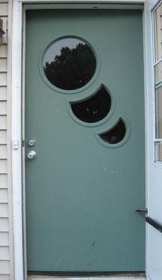 Cool Circular Atomic Design Front Door Steel Blue