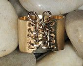 14K gold Filled Wide Corset Ring with Wire lace up & Bow