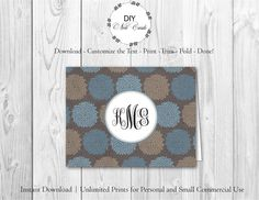 Blue Lavender Floral - DIY Printable Monogram Note Card Template - Add Text, Print, Trim, Fold, Done! Unlimited Personal Prints. PRE.0156 by DIYNotecards on Etsy