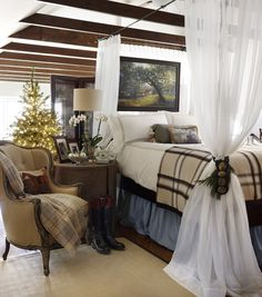 Christmas at the Polohouse. Master bedroom in the hayloft.  Midwest Living Magazine polohouse.blogspot.com