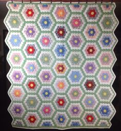 "Vintage Master Skill Handmade Quilt 68"" x 79"" Hexagon Grandmothers Flower Garden"