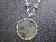Antique Tintype Necklace with rhinestones Best Friends