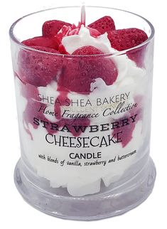 The Strawberry Cheesecake Candle smells and looks good enough to eat! This realistic candle comes complete with a creamy strawberry cream scented filling with strawberry embeds and syrup on top. Cute Candles, Beautiful Candles, Diy Candles Scented, Handmade Candles, Candle Maker, Candle Jars, Candlemaking, Strawberry Cheesecake, Bedroom Decor
