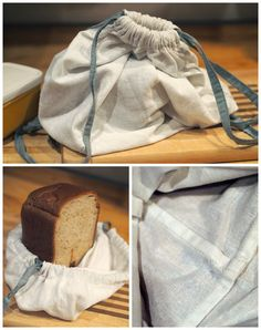 Linen Bread Bag to keep home-made bread fresh. French seams that don't harbour crumbs!