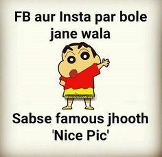 Saved by Vaishnavi Shinchan Quotes, Funny Quotes In Hindi, Funny Attitude Quotes, Hindi Jokes, Funny School Jokes, Some Funny Jokes, Funny Jokes To Tell, Crazy Funny Memes, Funny True Facts