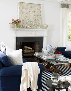 Blue and White Seating