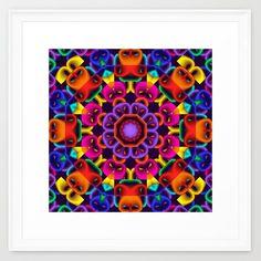 Cool Colourful Kaleidoscope, fractal art Framed Art Print