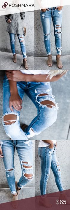 The MOST PURRFECT Skinnies Light wash skinnies.  Good stretch.  NOTE: EACH PAIR IS UNIQUE AND WILL HAVE UNIQUE DISTRESSING SO WILL NOT BE EXACTLY LIKE PIC SHOWN  NO TRADE PRICE FIRM Bellanblue Jeans Skinny