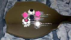 Hot Pink Black & White set of 6 bobby pins hair accessories lot flower owl cabochons silver filigree base