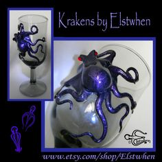 Some new Krakens and glassware in the Elstwhen shoppe on Etsy. Unique keepsakes, perfect for a nautical wedding toast or christening your new submarine ;-) #Steampunk #Octopus #Kraken #Elstwhen