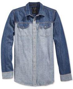 16a722b5b21 GUESS Men s Western Colorblocked Denim Shirt   Reviews - Casual Button-Down  Shirts - Men - Macy s