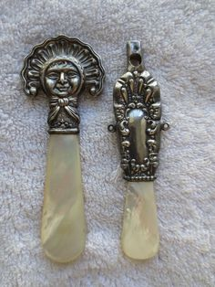 Pair Victorian Sterling Mother of Pearl Baby Rattles