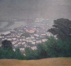 honfleur in the mist, felix vallotton, 1911, oil on canvas