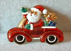 $14.95~~Santa Claus is coming to town!!!  New Enamel SANTA CLAUS in Red VW Sport Car w/ Presents Christmas Xmas Pin Brooch