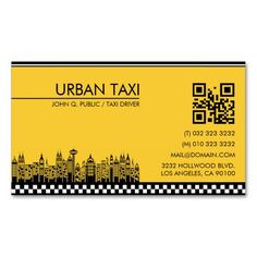 Cab Driver Taxi Driver Business Card created by This design is available on several paper types and is totally customizable. Qr Code Business Card, Business Card Design, Business Flyers, V Card, Id Card Design, Uber Taxi, Presentation Cards, Cab Driver, Take Me To Church