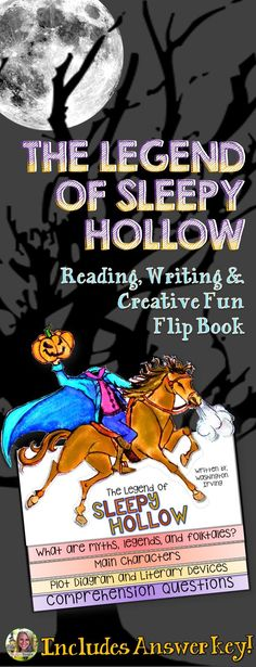 English language arts | Halloween | short story | Spooky reading fun! Students will love The Legend of Sleepy Hollow Reading, Writing, Flip Book Reading Literature Guide. This short story is so vivid and memorable. October is a perfect time for your English language arts lessons to include a Halloween activity with a little fun!