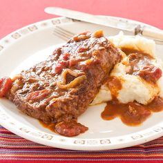 I always loved my mom's Swiss Steak, but this updated version is awesome. A little bit more time and work, but totally worth it. Serve it with sour cream whipped potatoes, yummy!!!
