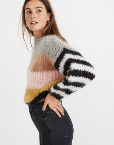 Striped arm knit sweater - Hand Knit color set women sweater - Mohair Wool sweater - Arm Knitting w Hand Knitted Sweaters, Mohair Sweater, Cool Sweaters, Cardigan Sweaters For Women, Winter Sweaters, Cashmere Sweaters, Sweater Sale, Knitting Sweaters, Winter Coats