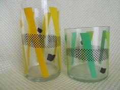 Set of 8 Vintage 1960s Glasses Barware Abstract by SlyfieldandSime, $32.00