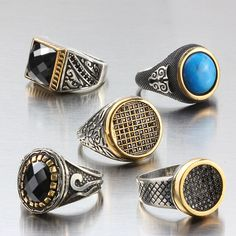 Wholesale Lot 5Pcs 925 K Sterling Silver Mens Rings Natural Stones Mixed Size $99.00