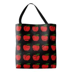 Apples-Vines-School-Teacher-Tote-Bags-M-L Tote Bag - rose style gifts diy customize special roses flowers