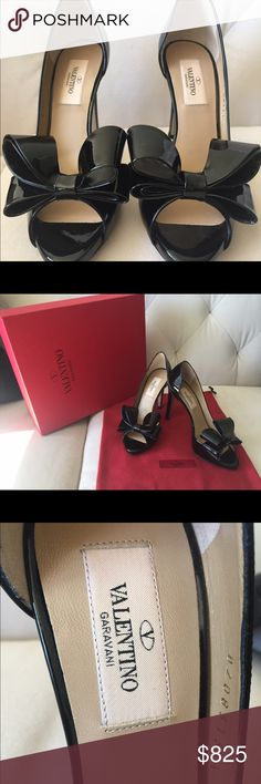 ✨HP✨ NEW VALENTINO Couture Bow Pumps, 35.5 ✨HP 12/24/16 ✨ NEW in Box VALENTINO Couture Bow d'Orsay Black Patent Peep Toe Pumps, size 35.5. This is a stunning classy Valentino bow pump, perfect with a fitted dress, demure A-line skirt, or skinny jeans. Heel height approx 105 mm/4 inches, with a ~5 mm platform. NEW, never worn, salon display shoe (tags on right sole). Includes box and dustbag. ❗️Serious offers ONLY❗️ Valentino Shoes Heels