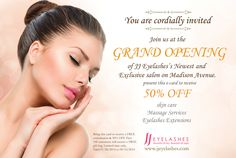 FYI, as JJ Eyelashes open our newest and exclusive salon, we are also expanding our services; Skin Care and Massage.   RSVP to win a gift bag($80 Lash Dr. and gift certificate included) with free consultation at Madison Salon! (Doors are open on July 28th, 2014)  Click this link to RSVP: http://events.r20.constantcontact.com/register/event?oeidk=a07e9lj3izb9e1b9056&llr=flggmrfab