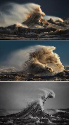 """Breathtaking Liquid Mountains Capture the Force and Beauty of Lake Erie's Energetic Waves """"I'm fascinated by the sheer raw power and force of it, captivated by the graceful movement of a wave and mesmerized by light dancing across it. Waves Photography, Modern Photography, Artistic Photography, Landscape Photography, Nature Photography, Photography Ideas, Photography Equipment, Lago Erie, Doodle Drawing"""