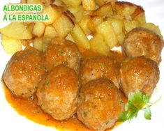 Spanish Dishes, Spanish Tapas, Spanish Meatballs, Cooking Time, Cooking Recipes, Meatball Sauce, Kitchen Dishes, Food Preparation, Mexican Food Recipes