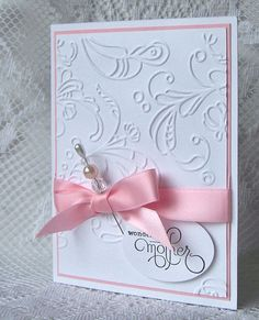 Pink and Pearls on a card...how pretty...need to make these...