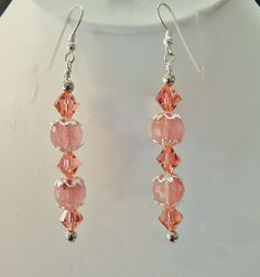 Cherry Quartz and Swarovski Crystal Silver Earrings