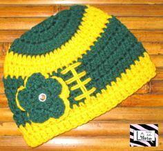 Green Bay Packers Football Beanie with Flower by LittleMimiLulu, $14.99