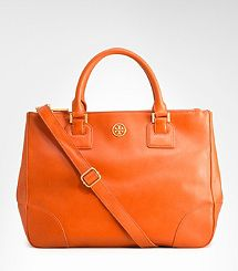 "Tory Burch. Robinson Satchel in ""Blood Orange"". Orange is HOT for 2012!"