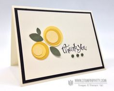 SU! Sassy Salutations stamp set; colors are So Saffron, Crushed Curry, Daffodil Delight and Always Artichoke on Very Vanilla - Mary Fish