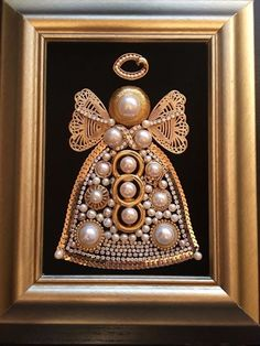VINTAGE JEWELRY FRAMED ART CHRISTMAS ANGEL, GOLD, PEARL, SWAROVSKI, TRUE VINTAGE
